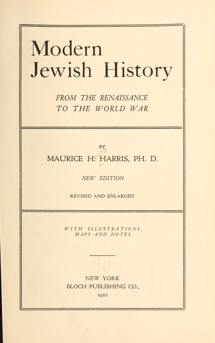 [Title Page] from Modern Jewish History by Maurice Harris