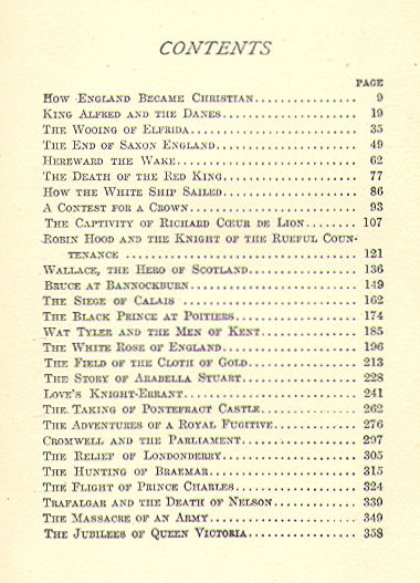 [Contents] from Historical Tales - English by Charles Morris