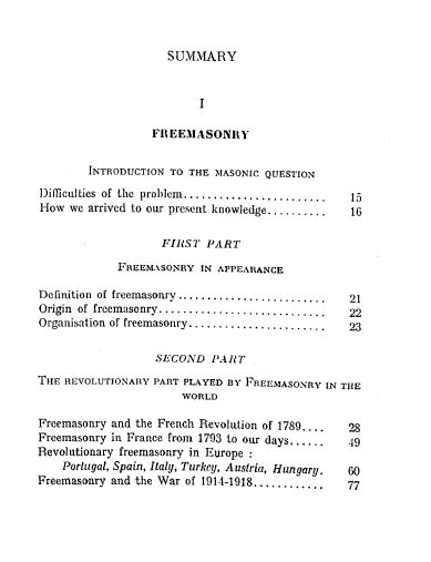 [Contents, page 1 of 3] from Freemasonry and Judaism by Leon de Poncins