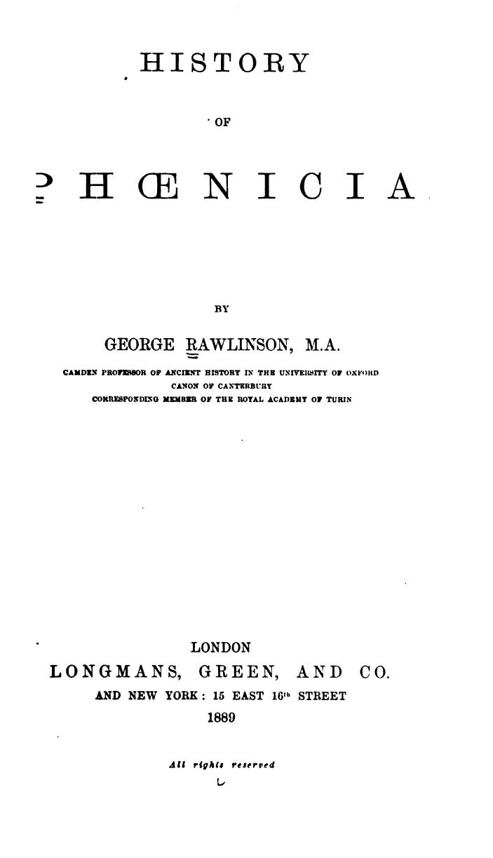 [Title Page] from History of Phoenicia by George Rawlinson