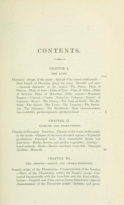 [Contents, Page 1 of 7] from History of Phoenicia by George Rawlinson