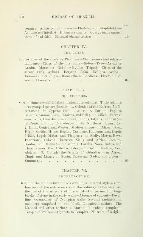 [Contents, Page 2 of 7] from History of Phoenicia by George Rawlinson