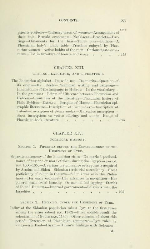 [Contents, Page 5 of 7] from History of Phoenicia by George Rawlinson